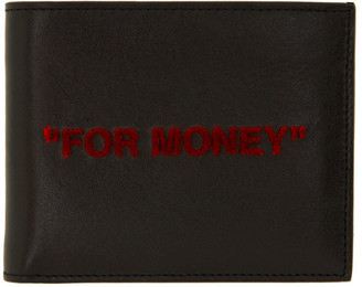 Off-White Black and Red Quote Bifold Wallet
