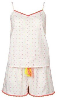 Dorothy Perkins Womens White Neon Pom Pom Pyjama Set, White