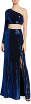 Aidan Mattox Two-Piece Metallic Dot One-Shoulder Crop Top & Mermaid Skirt Set