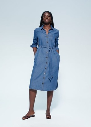 MANGO Violeta BY Denim shirt dress medium blue - 10 - Plus sizes