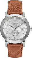 Burberry 42mm Stainless Steel & Leather City Watch, Brown