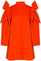 DELPOZO Neoprene Shoulder Bow Coat