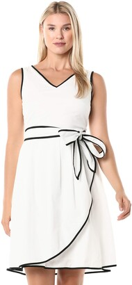 Ellen Tracy Women's Tetured Cotton Dress with Self Belt and Piping Detail