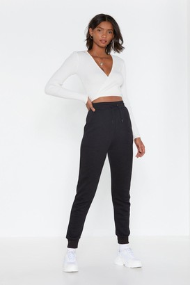 Nasty Gal Womens Black High-Waisted Joggers with Fitted Cuffs
