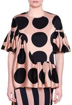 Stella McCartney Gathered-Ruffle Large-Dot Print Blouse, Black/Pecan