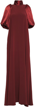 Co Tie-neck Satin-paneled Crepe De Chine Maxi Dress