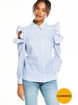 Very Stripe Cold Shoulder Ruffle Shirt