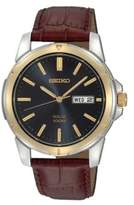 Seiko Functional Solar Stainless Steel and Leather Watch