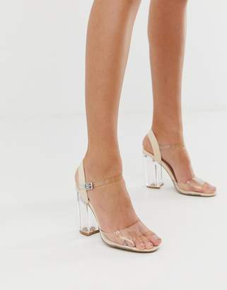 Qupid clear strap block heeled sandals-Beige