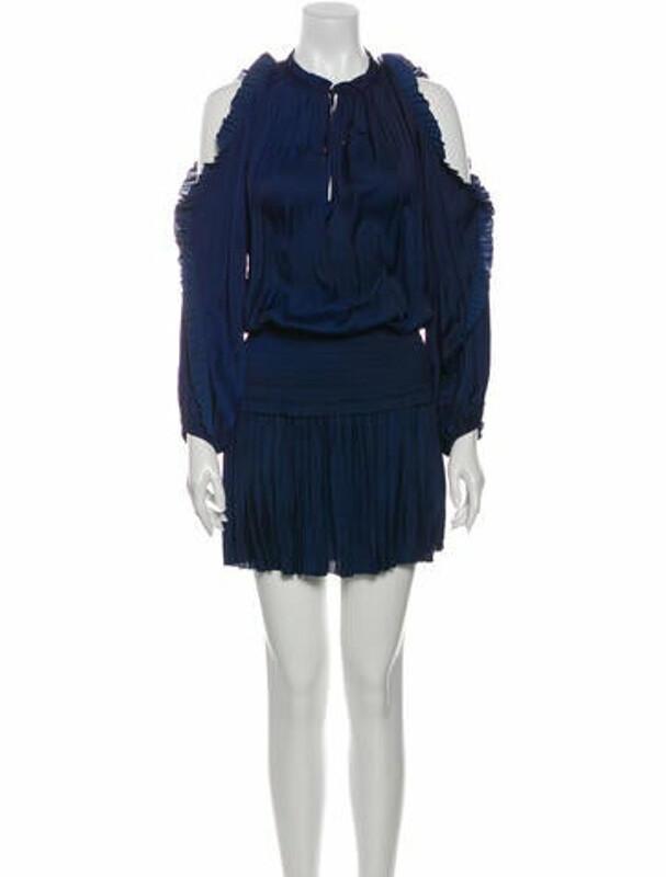 Ulla Johnson Tie Neck Knee-Length Dress Blue