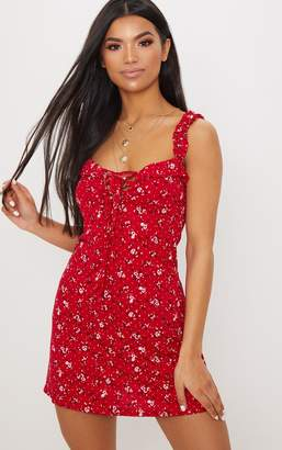 PrettyLittleThing Red Ditsy Floral Print Frill Detail Shift Dress