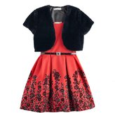 Knitworks Girls 7-16 Faux-Fur Bolero & Belted Flocked Skater Dress with Necklace