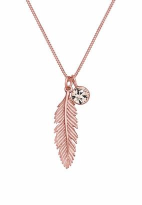 Elli Women 925 Sterling Silver Rose Gold Plated Xilion Cut Swarovski Crystal Pendant Necklaces 45 cm