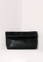 Missguided Croc Roll Top Clutch Bag Black