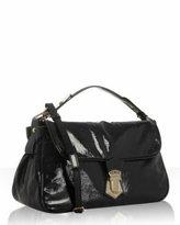 black patent leather shoulder bag
