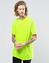 Asos Longline T-Shirt With Crew Neck In Yellow Fluro