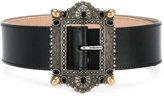Alexander McQueen decorative buckle belt - women - Calf Leather/metal/glass - 75