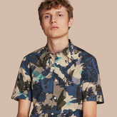 Burberry Short-sleeved Abstract Print Cotton Poplin Shirt