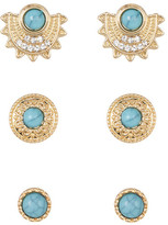 Natasha Accessories Stone & Crystal Earrings 3-Piece Set