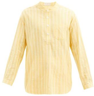 Smr Days - Striped Cotton Tunic Shirt - Yellow