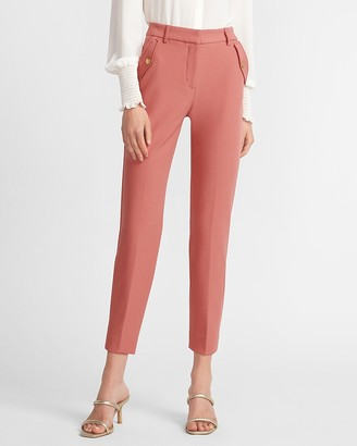 Express High Waisted Supersoft Flap Pocket Straight Cropped Pant