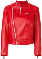 DSQUARED2 biker jacket - women - Leather/Polyester/Viscose/Virgin Wool - 42