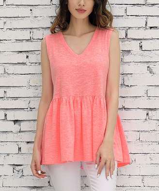 Z Avenue Women's Tank Tops Neon - Neon Coral Sleeveless Peplum Tunic - Women & Plus