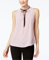 Lily Black Juniors' Ruffled Tie-Neck Blouse, Only at Macy's