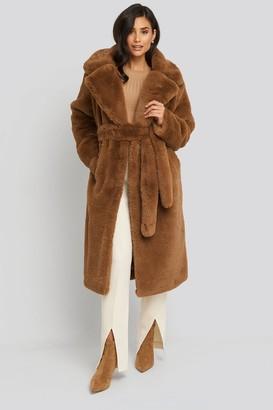 NA-KD Soft Faux Fur Long Coat Beige