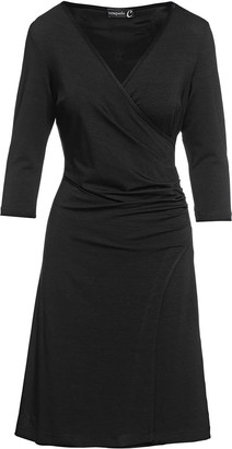 Conquista Black Faux Wrap Dress In Sustainable Fabric