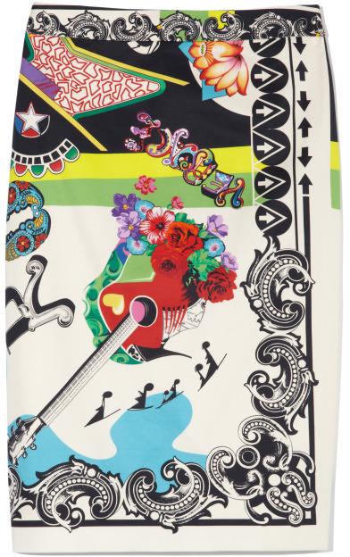 Versace Multicolor Graphic Print Pencil Skirt