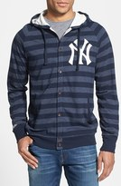 Mitchell & Ness Men's 'Yankees' Stripe Button Front Jersey Hoodie