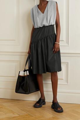 3.1 Phillip Lim - Gathered Cotton-jersey And Taffeta Dress - Black