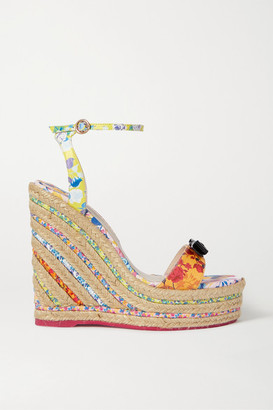 Sophia Webster Laurellie Bow-embellished Floral-print Leather Espadrille Wedge Sandals - Orange