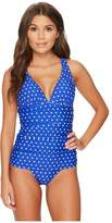 Lauren Ralph Lauren Dot Halter Skirted One-Piece Women's Swimsuits One Piece
