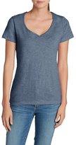 Eddie Bauer Women's Essential Slub Short-Sleeve V-Neck T-Shirt, Htr Indigo XXL R