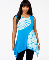 Belldini Plus Size Rhinestone Tie-Dyed Sleeveless Top