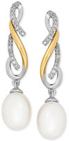 Macy's Cultured Freshwater Pearl (7mm) and Diamond (1/10 ct. t.w.) Drop Earrings in Sterling Silver and 14k Gold