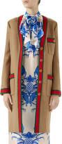 Gucci Single-Breasted Web-Trim 3-Pocket Wool Coat
