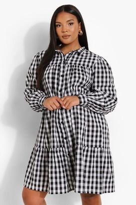 boohoo Plus Gingham Woven Smock Shirt Dress