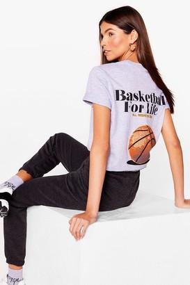 Nasty Gal Womens Basketball for Life Graphic Longline Tee - Grey Marl