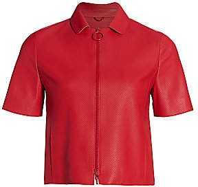 Akris Punto Women's Short-Sleeve Perforated Leather Zip Jacket