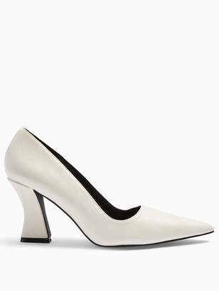 Topshop Flared Heel Court Shoes - White