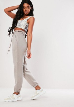 Missguided Tall Grey Paper Bag Waist Joggers