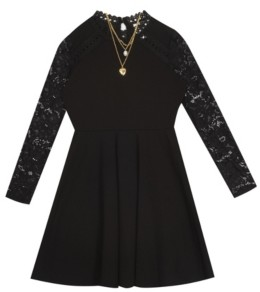Rare Editions Big Girl Scuba Crepe Skater Dress With Lace Sleeves