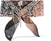 Dannijo Printed Cotton And Oxidized Silver-plated Choker - Brown
