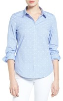 Women's Halogen Dobby Dot Check Cotton Shirt