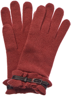 Portolano Leather-Trim Cashmere Gloves