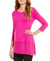Vince Camuto Crew Neck 3/4 Sleeve Asymmetrical Hem Solid Knit Top