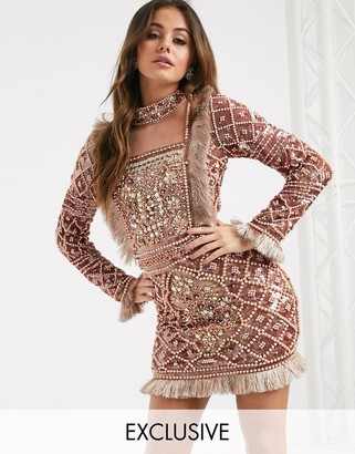 A Star Is Born exclusive embellished mini dress with mesh and feather detail in rose gold